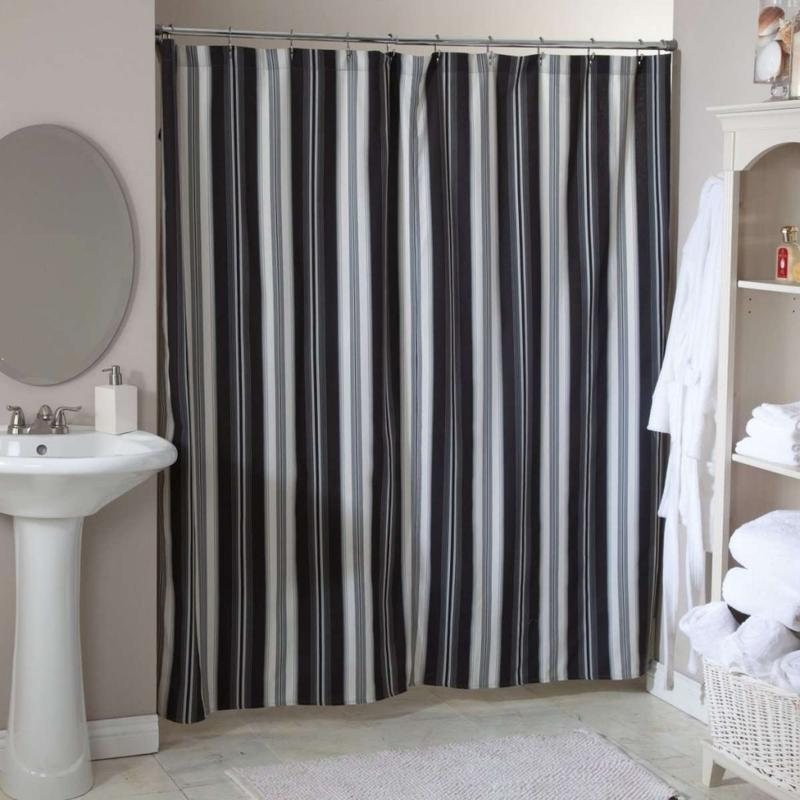 Grey White Striped Shower Curtain. Black and White Striped Shower Curtain for Stylish Bathroom  Rilane