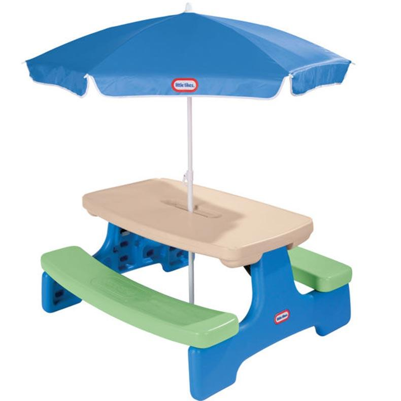 Kids picnic table with umbrella photos ideas rilane - Children s picnic table with umbrella ...