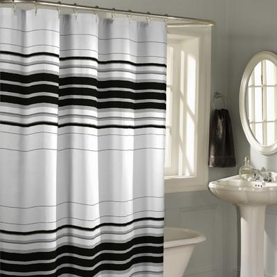 black and white striped shower curtain. Horizontal Black and White Shower Curtain Striped for Stylish Bathroom  Rilane