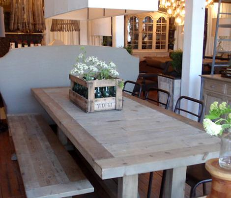 Reclaimed Light Wood Trestle Dining Table