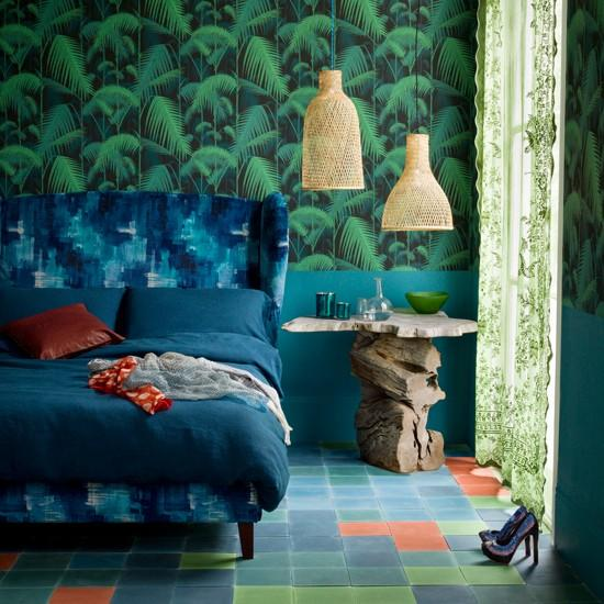 Blue And Green Motif Wallpaper