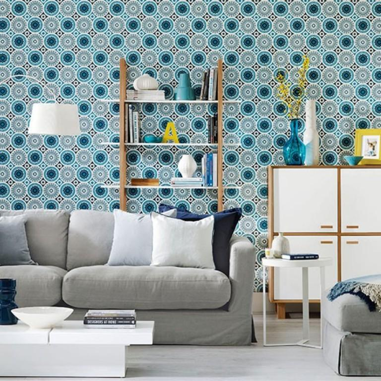20 sumptomous living room wallpaper designs rilane for Living room wallpaper design