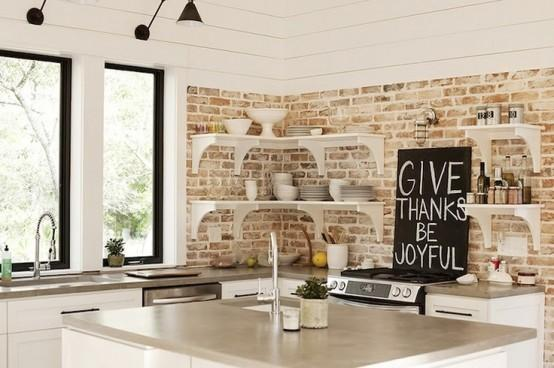 15 Cool Kitchen Design With Exposed Brick Walls Rilane