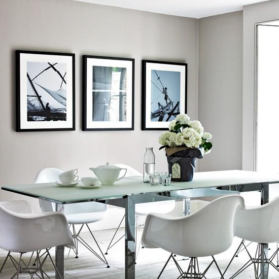 15 contemporary monochromatic dining room designs rilane for Dining room ideas grey