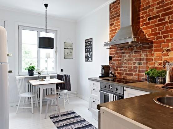 Stylish-kitchen-with brick walls