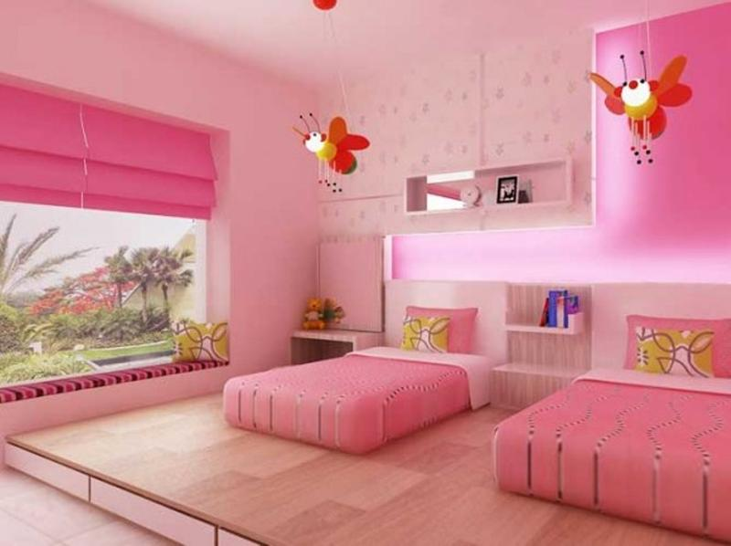 Great Adorable Pink Twin Bedroom