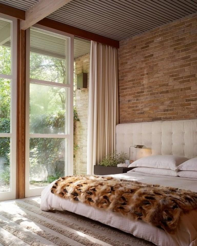 airy bedroom with brick walls image credit design rulz - Exposed Brick Wall Bedroom Ideas