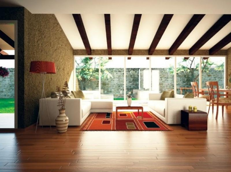 Airy Living Room with Exposed Wooden Beams