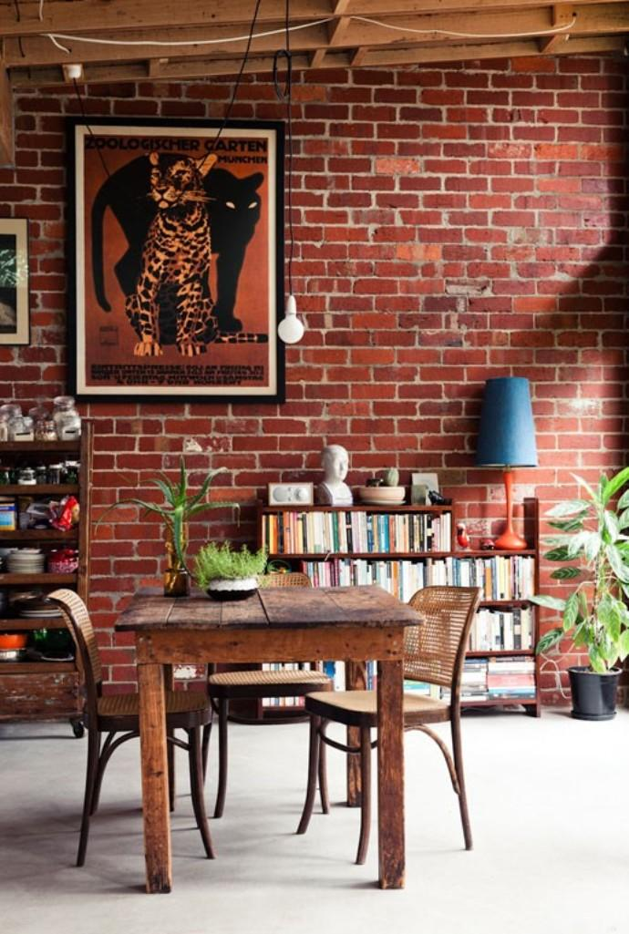 Artistic Dining Room With Brick Walls