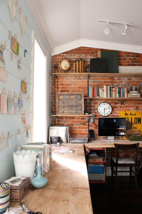 Attic Home Office With Exposed Brick Walls