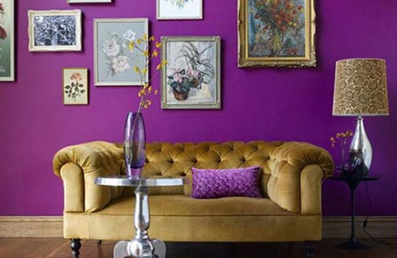 Interesting Black And Purple Living Room Wallpaper Design