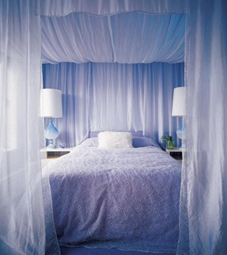 Great Blue Canopy Bed Curtains