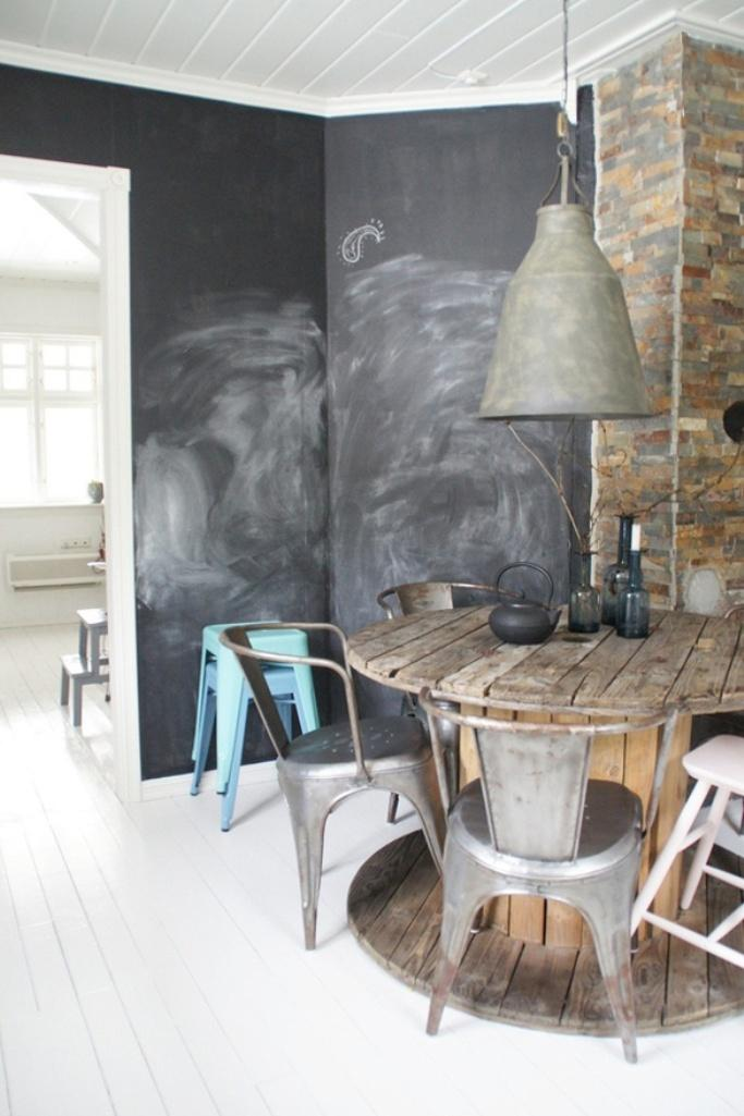 Bold Dining Room With Chalkboard Walls