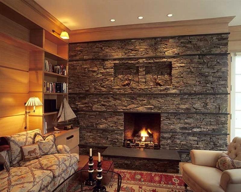 Bold Living Room with Stacked Stone Fireplace