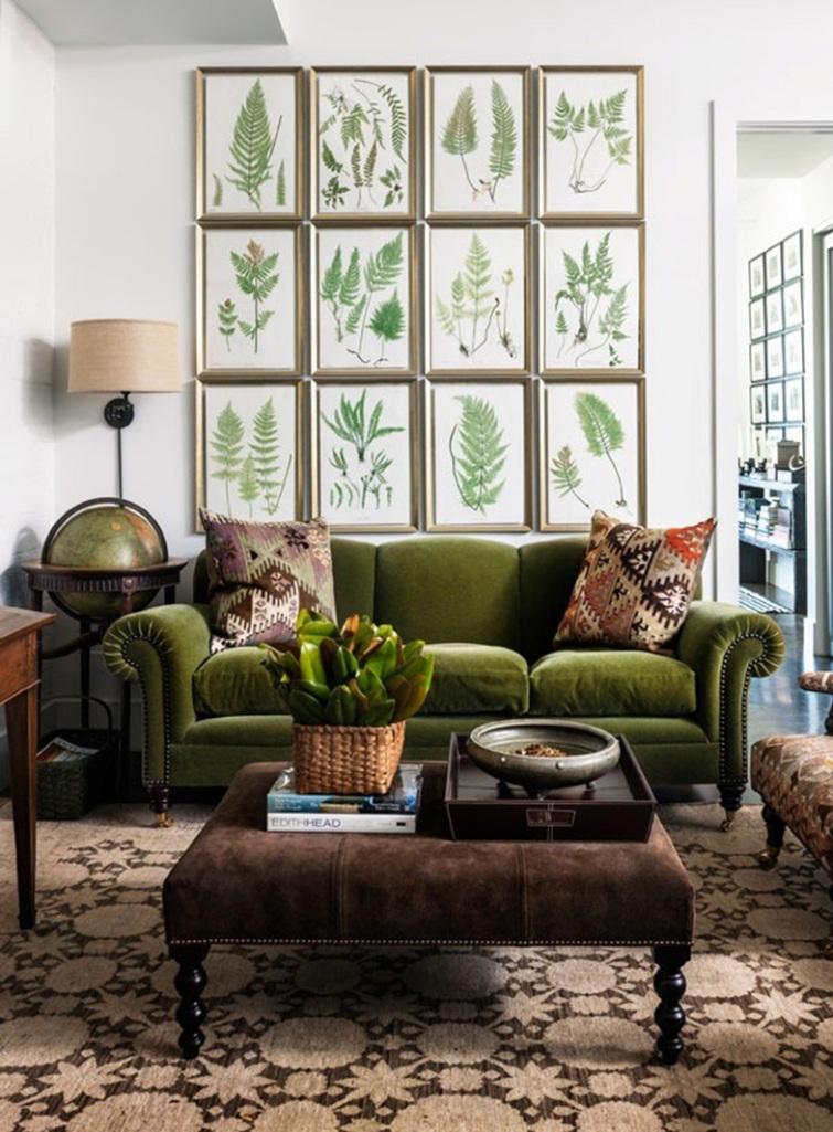Botanical Green Velvet Sofa - Captivating Velvet Sofa Designs - Rilane