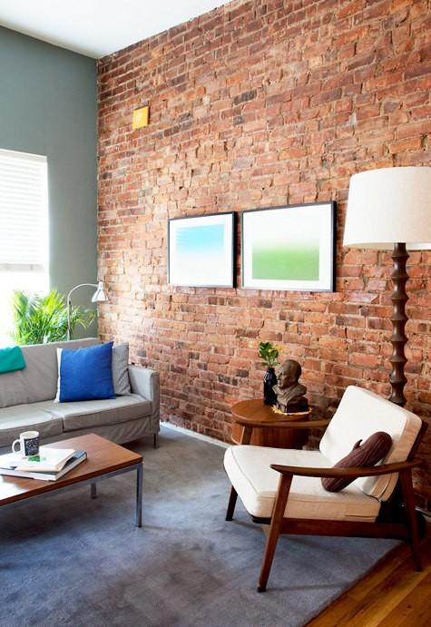 Bright Living Room With Brick Walls