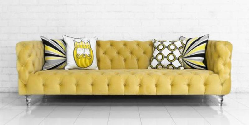 Bright Yellow Tufted Velvet Sofa