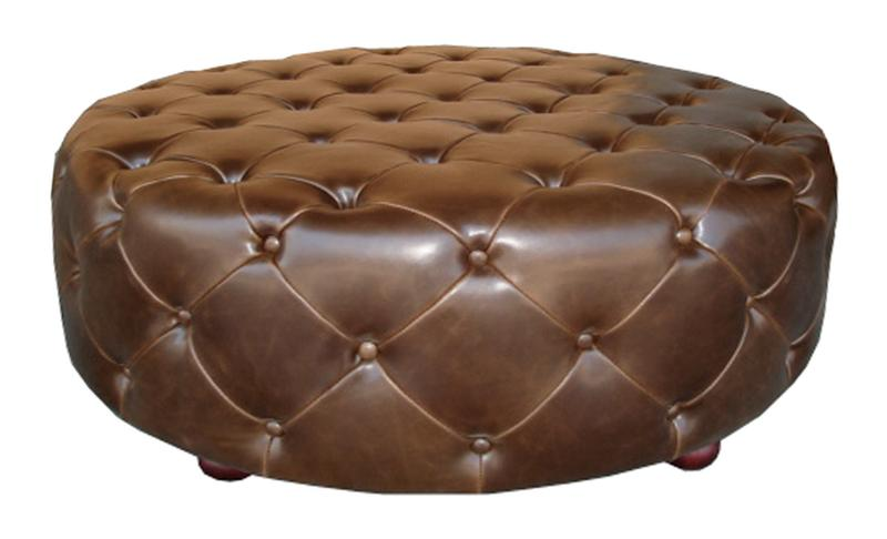 Brown Leather Round Ottoman