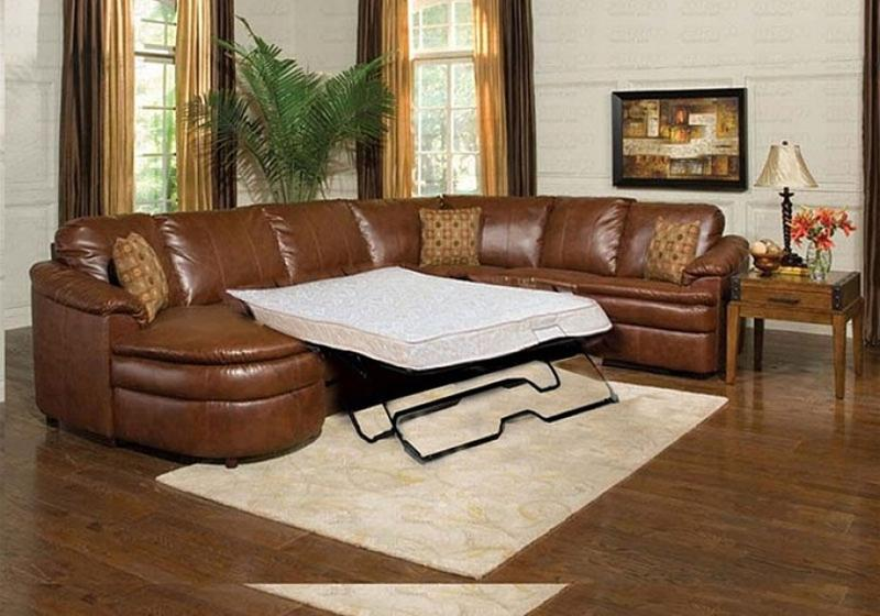 Brown Leather Sectional Sleeper Sofa