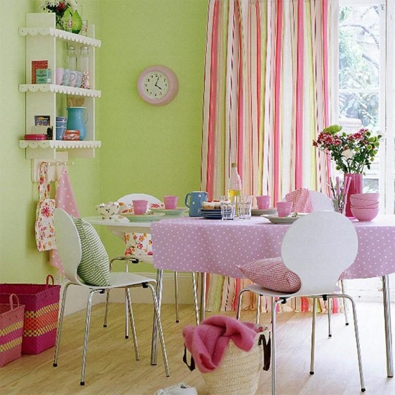 candy colored dining room