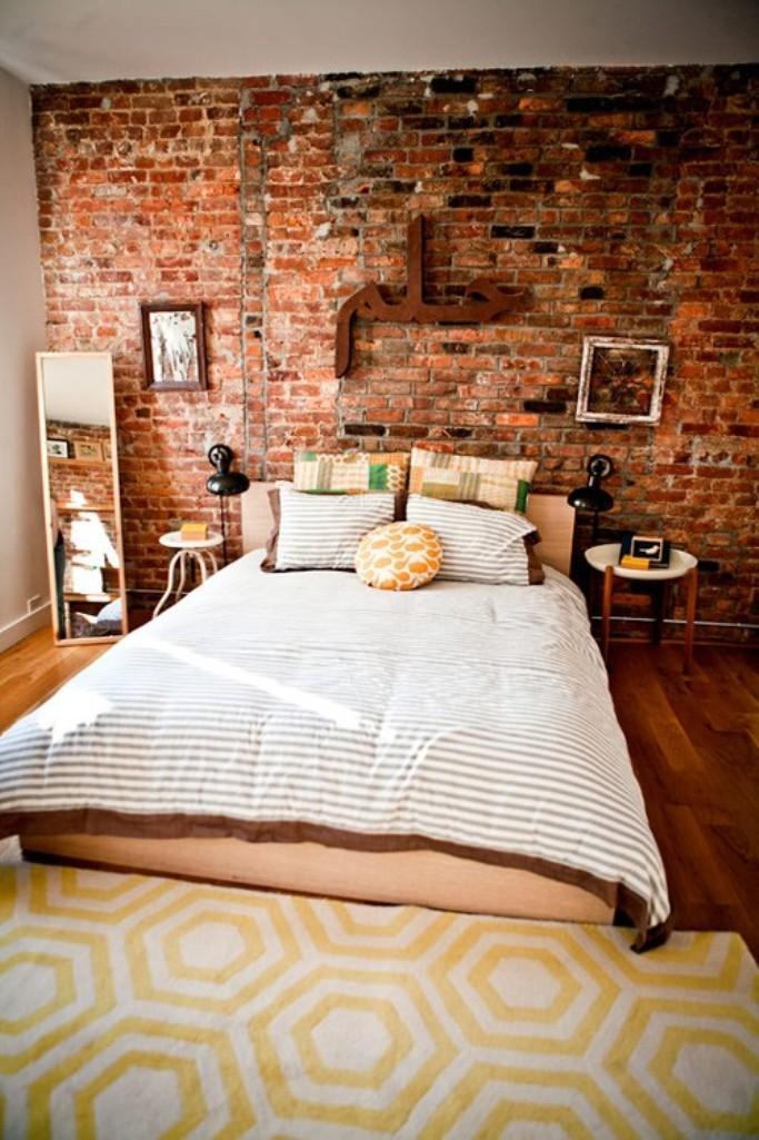 charming bedroom with brick walls - Exposed Brick Wall Bedroom Ideas
