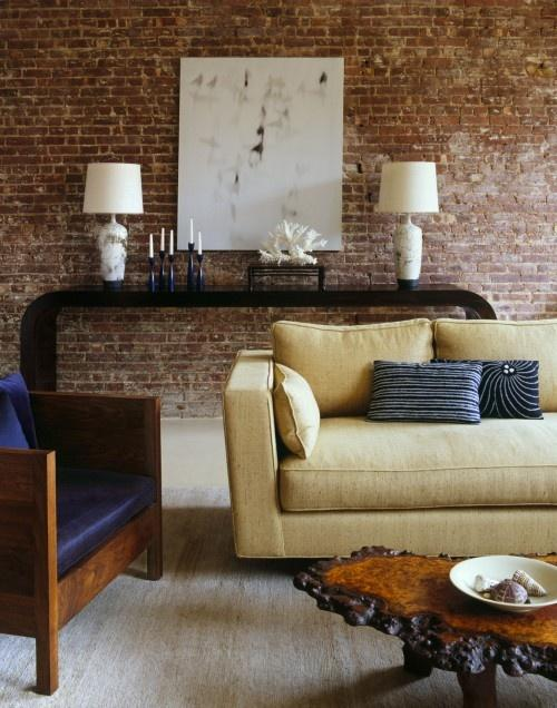 Charming Brick Walls Living Room