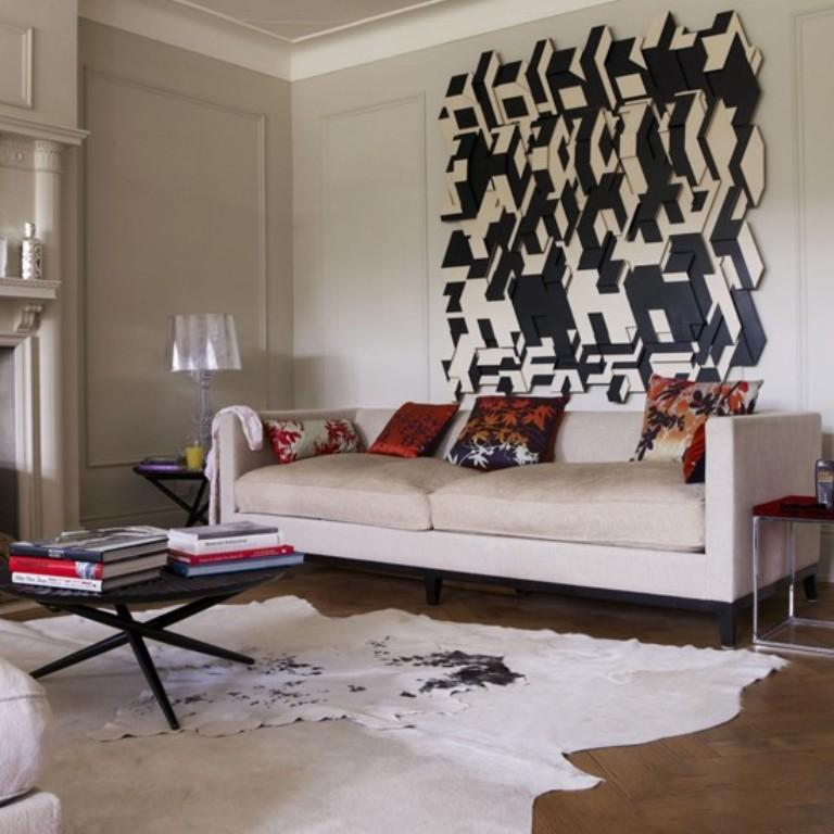 Chic living room with statemnet artwork