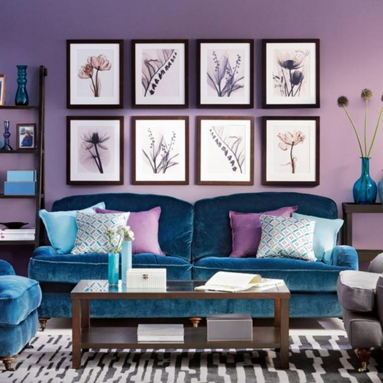 20 dazzling purple living room designs rilane for Teal and purple living room