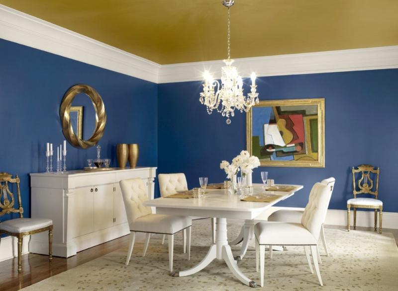 Lovely Classy Navy Blue Dining Room Part 19