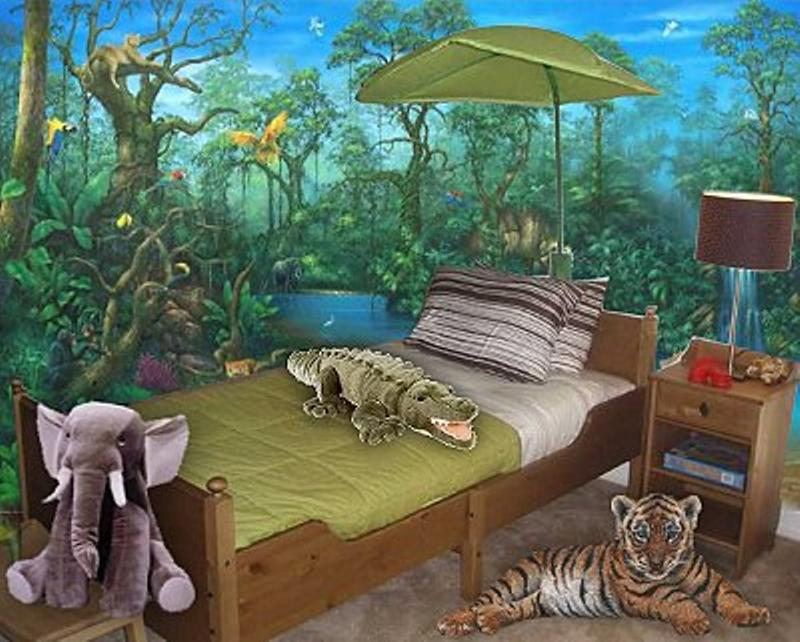 20 jungle themed bedroom for kids rilane for Themed bedroom wallpaper