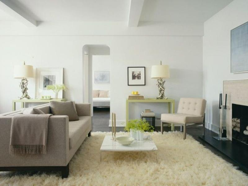 Dazzling living rooms with white flokati rug rilane