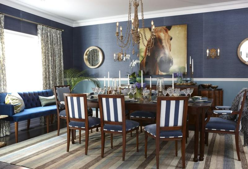Contemporary Dark Blue Dining Room
