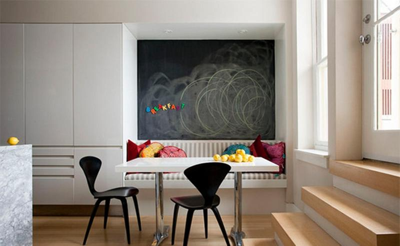 Contemporary Dining Room With Chalkboard Accent