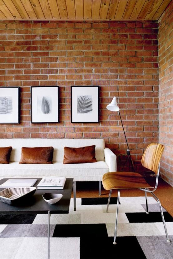 brick living room furniture. contemporary living room with brick walls furniture e