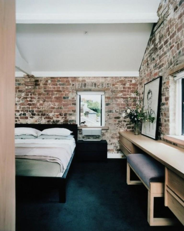 Contemporary Bedroom With Rustic Brick Walls