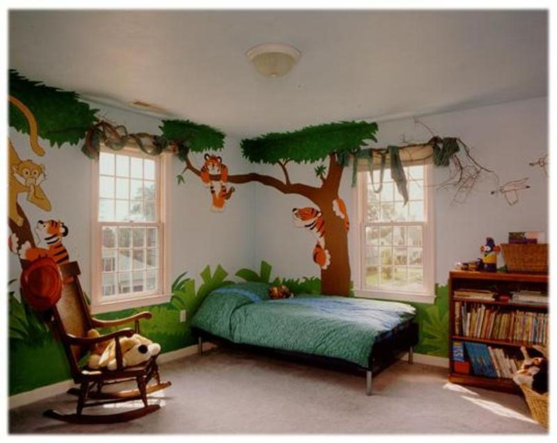 cool jungle inspired bedroom - Decor For Kids Bedroom