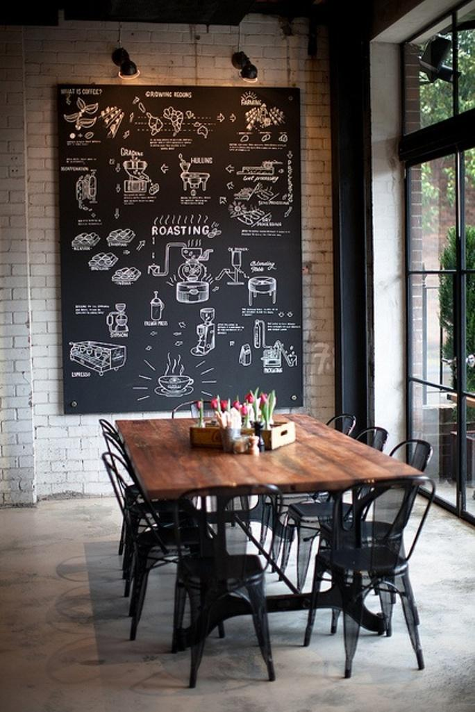 Delightful Cool Modern Dining Room With Chalkboard Art