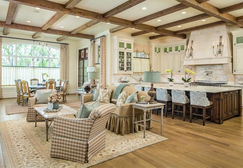 Bon Country Inspired Living Room With Exposed Roof Beams
