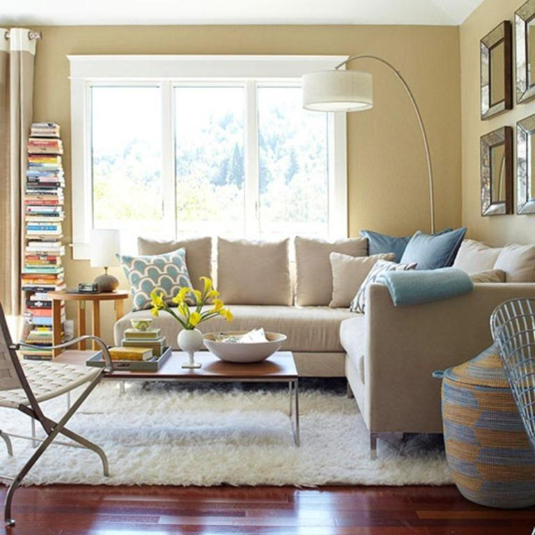 Cozy Living Room With A Large Flokati Rug