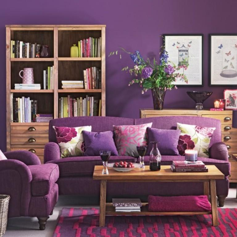 Great Cozy Purple Living Room