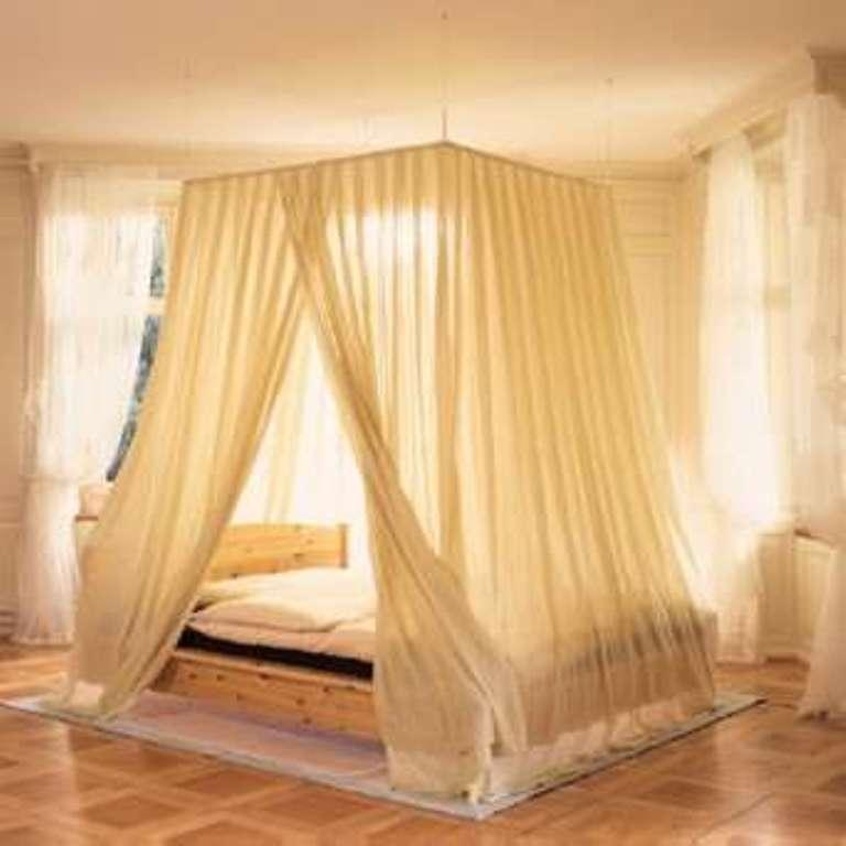 creamy beige transparent canopy curtain - Yellow Canopy Interior