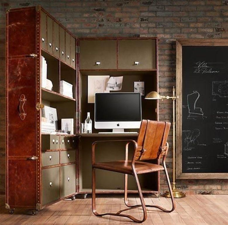 15 cool home office design with exposed brick walls rilane for Creative home office