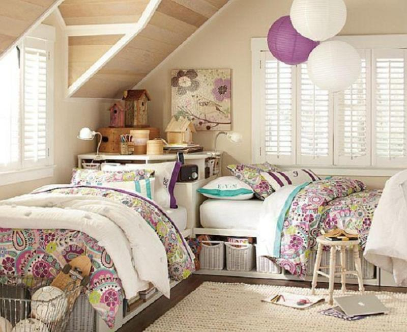 cute french inspired twin girls bedroom