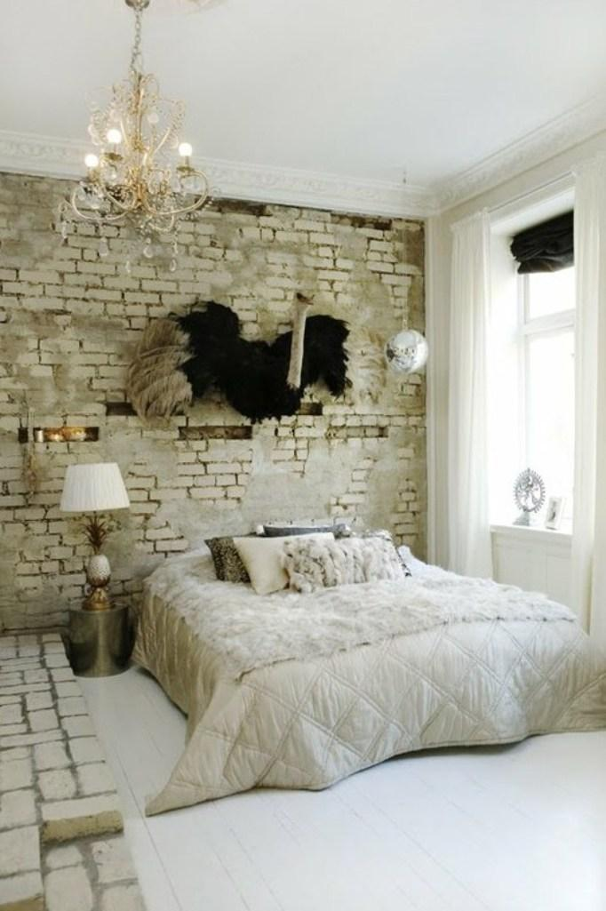Daring Bedroom With Rustic Brick Walls