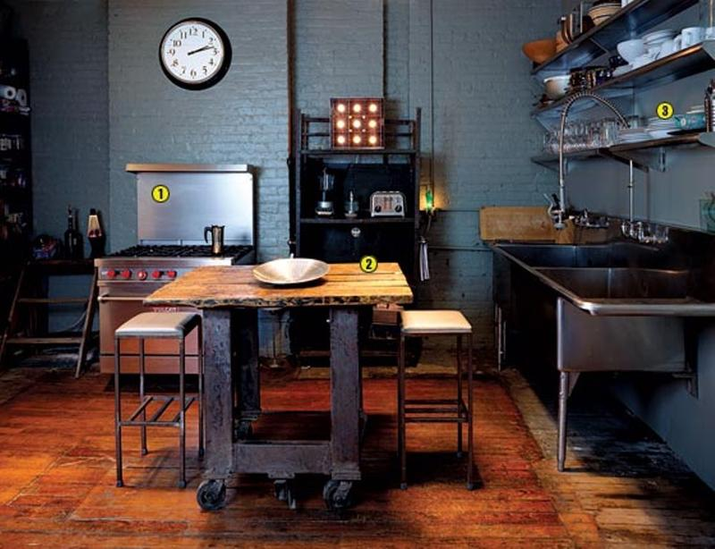 dark blue industrial kitchen