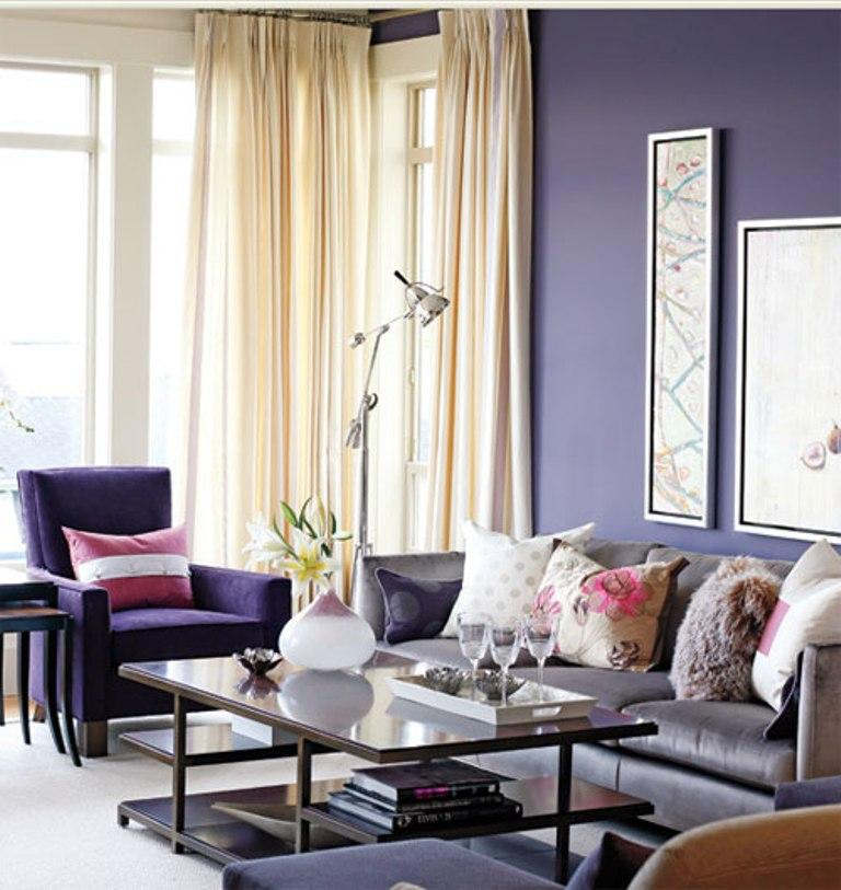 Gentil Distressed Purple Living Room