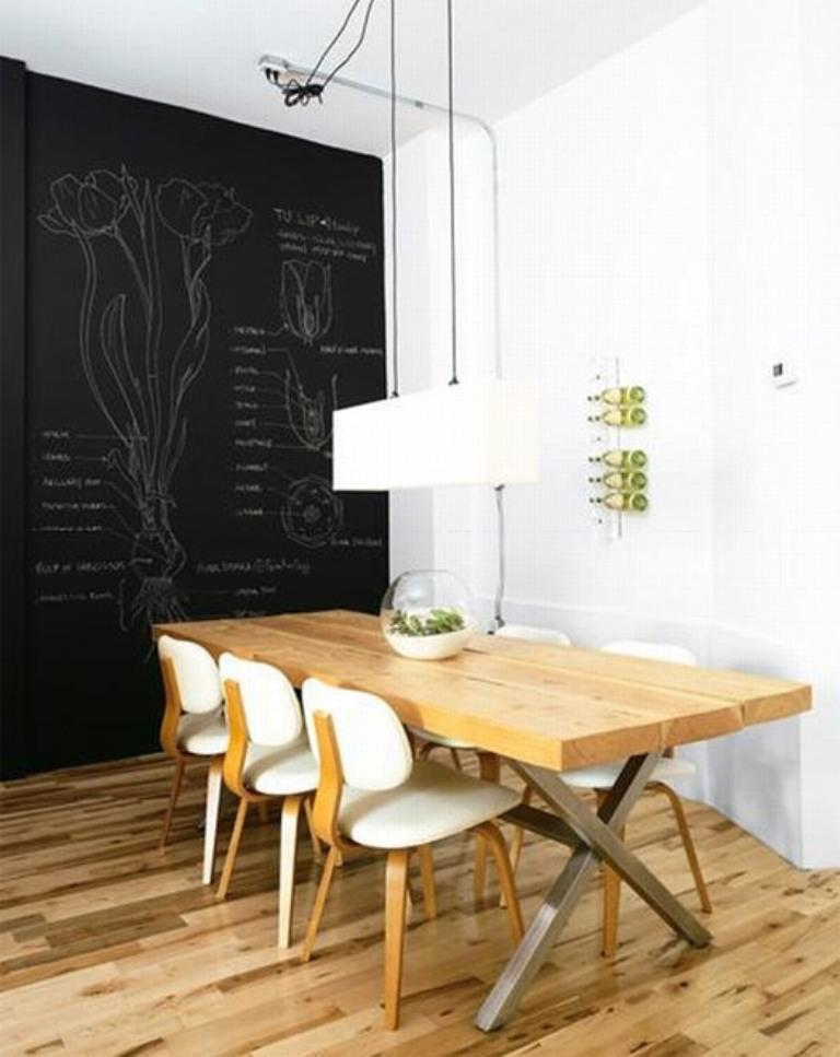 Distressed Dining Room With Chalkboard Wall