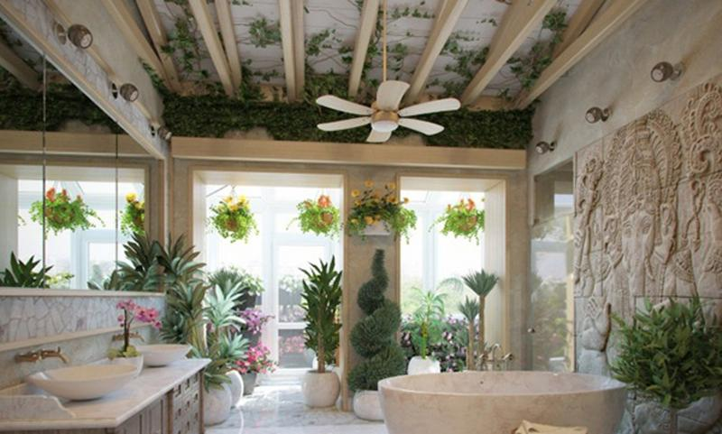 Dramatic Lush Bathroom