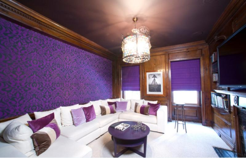dramatic purple living room