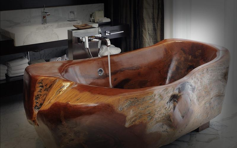 Dramatic Wooden Bathtub